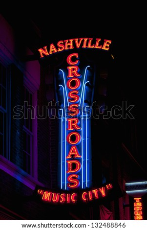 NASHVILLE - DECEMBER 03: Nashville Crossroads neon signs on Lower Broadway Area on December 03, 2012 in Nashville, Tennessee, USA