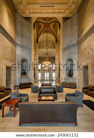 NASHVILLE, TENNESSEE - DECEMBER 1: Lobby on the second floor of the Tennessee State Capitol building on December 1, 2014 in Nashville, Tennessee - stock photo