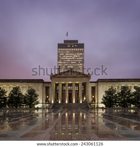 NASHVILLE, TENNESSEE - DECEMBER 1: Tennessee War Memorial Building from the Legislative Plaza on December 1, 2014 in Nashville, Tennessee - stock photo