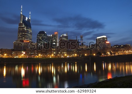 Nashville, Tennessee skyline at night - stock photo