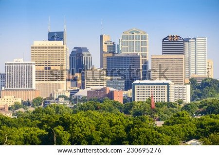 Nashville, Tennessee, USA downtown skyline. - stock photo