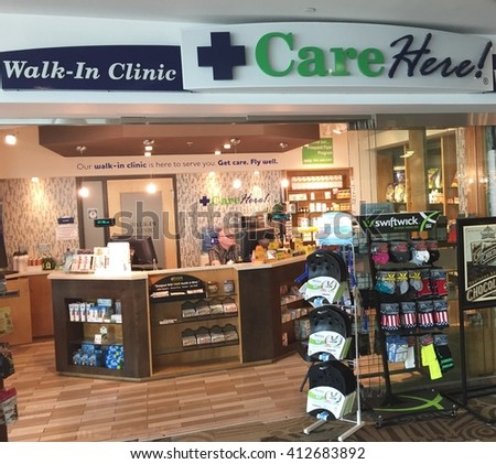 NASHVILLE, TN-APRIL 27, 2016:  Interior view of an urgent care walk in clinic. This one is inside Nashville International airport. - stock photo