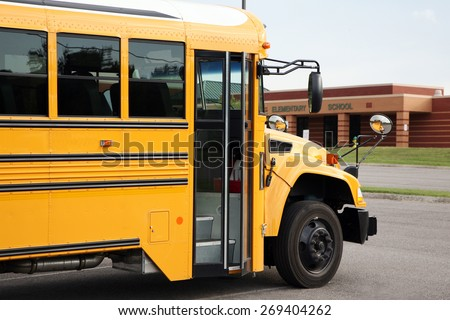NASHVILLE, TN-CIRCA JANUARY, 2015:  Public school bus is ready to pick-up students for the new school day.   - stock photo