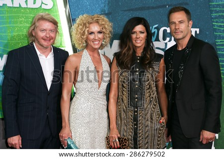 NASHVILLE, TN-JUN 10: (L-R) Phillip Sweet, Kimberly Schlapman, Karen Fairchild & Jimi Westwood of Little Big Town attend the 2015 CMT Music Awards at Bridgestone Arena on June 10, 2015 in Nashville. - stock photo