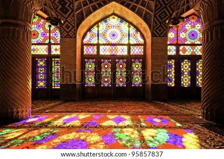 Nasir al-Mulk Mosque in Shiraz, Iran. It is known as the Masjed-e Naseer ol Molk. - stock photo