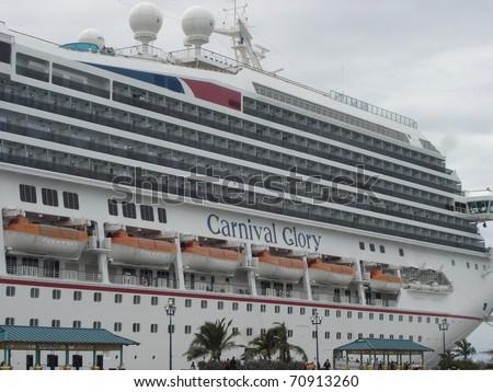 NASSAU, BAHAMAS  - DECEMBER 11: The Carnival Glory docked on December 11, 2005 in Nassau in the Bahamas. - stock photo