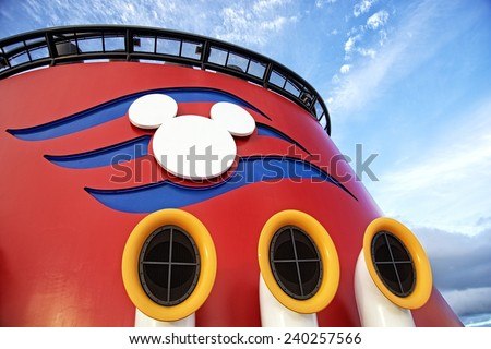NASSAU, BAHAMAS, DECEMBER 4, 2014: Top of the Disney Cruise Dream, one of the biggest and more fun cruise ships that navigate the Caribbean. The colors and the shape of Mickey Mouse identify the ship. - stock photo