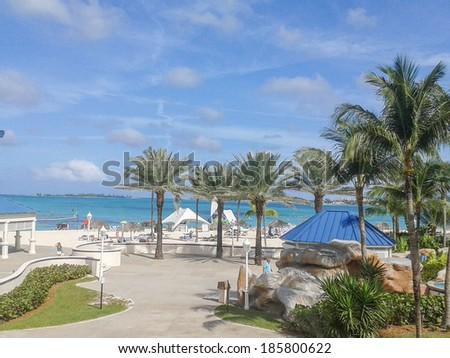 NASSAU, BAHAMAS - FEBRUARY 05, 2014: Tourists on the beach at Nassau Bahamas USA