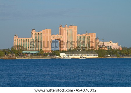 NASSAU, BAHAMAS - JANUARY 17, 2010: Atlantis Paradise Island Resort in Nassau, Bahamas. The Bridge Suite Located in the Span is the Most Expensive Suite in the World Costing Approximately $25,000 USD.