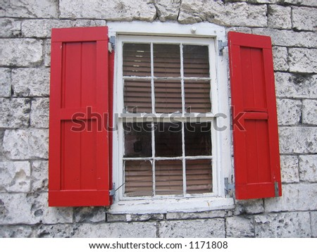 Nassau Bahamas Red Window Shutters