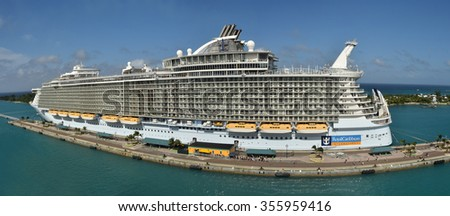 NASSAU - DECEMBER 21, 2015: Royal Caribbean megaship Allure of the Sears prepares for departure from Nassau in the Bahamas on December 21, 2015. It is one of the largest ships of the cruise fleet. - stock photo