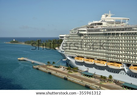 NASSAU - DECEMBER 21, 2015: Royal Caribbean megaship Allure of the Sears prepares for departure from Nassau in the Bahamas on December 21, 2015. It is one of the largest ships of the cruise fleet.