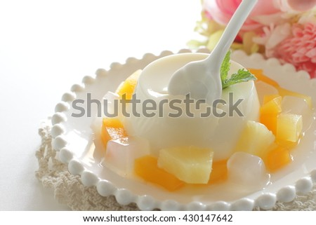 Nata de coco and mixed fruit for healthy dessert image