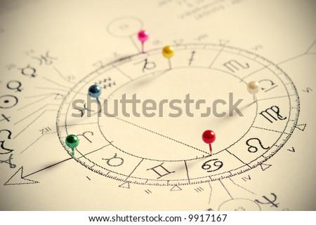 natal chart - stock photo