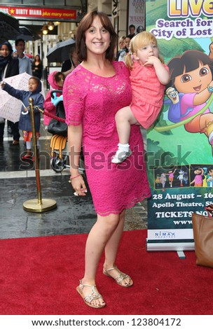 Natalie Cassidy and daughter Eliza arriving for the Celebrity & Press Performance of Nickelodeon's Dora the Explorer at the Apollo Theatre, London. 29/08/2012 Picture by: Henry Harris - stock photo