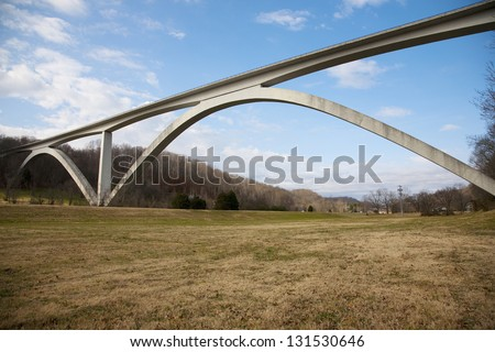 Natchez Trace Parkway double arched bridge, outside of Nashville, Tennessee, USA