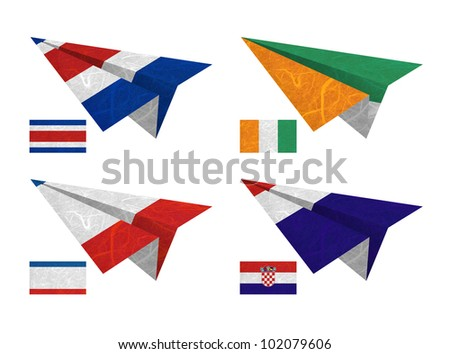 Nation Flag. Airplane recycled paper on white background. ( CostaRica, Cote dlvoire , Crimea , Croatia ) - stock photo