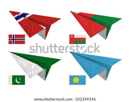 Nation Flag. Airplane recycled paper on white background. ( Norway , Oman , Pakistan , Palau ) - stock photo