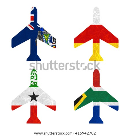 Nation Flag. Airplane recycled paper on white background. ( Somaliland , South Africa , South Georgia and the South Sandwich Islands , South Ossetia ) - stock photo