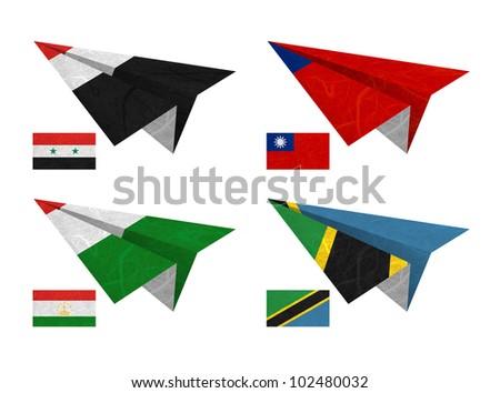 Nation Flag. Airplane recycled paper on white background. ( Syria , Taiwan, Tajikistan , Tanzania) - stock photo