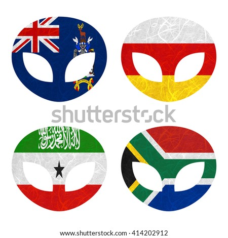 Nation Flag. Alien recycled paper on white background. ( Somaliland , South Africa , South Georgia and the South Sandwich Islands , South Ossetia ) - stock photo