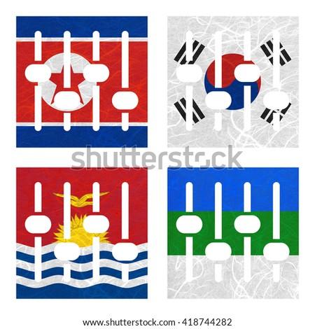Nation Flag. Amplifier recycled paper on white background. ( Kiribati , Komi , Korea North , Korea South ) - stock photo