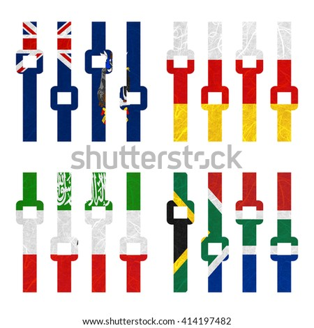 Nation Flag. Amplifier recycled paper on white background. ( Somaliland , South Africa , South Georgia and the South Sandwich Islands , South Ossetia ) - stock photo