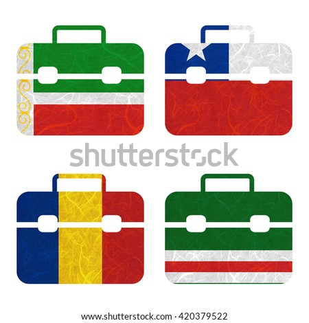 Nation Flag. Bag recycled paper on white background. ( Chad , Chechen Republic of Ichkeria , Chechen Republic , Chile ) - stock photo