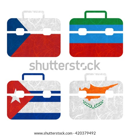 Nation Flag. Bag recycled paper on white background. ( Cuba , Cyprus , Czech Republic , Dagestan ) - stock photo