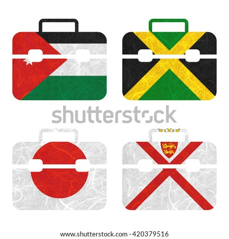 Nation Flag. Bag recycled paper on white background. ( Jamaica , Japan , Jersey , Jordan ) - stock photo