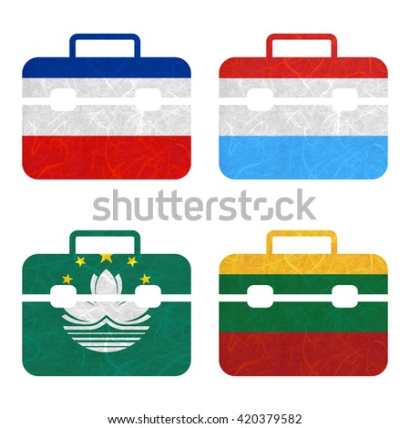 Nation Flag. Bag recycled paper on white background. ( Lithuania , Los Altos , Luxembourg , Macau ) - stock photo