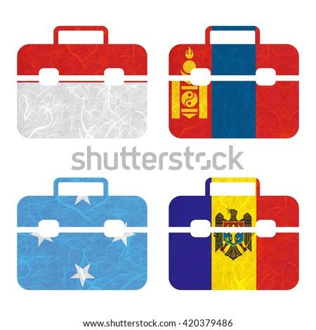Nation Flag. Bag recycled paper on white background. ( Micronesia Federated States , Moldova , Monaco , Mongolia ) - stock photo