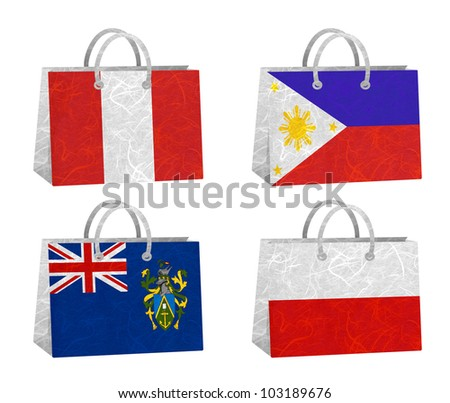 Nation Flag. Bag recycled paper on white background. ( Peru , Philippines , Pitcairn Islands , Poland ) - stock photo