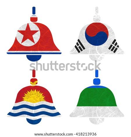Nation Flag. Bell recycled paper on white background. ( Kiribati , Komi , Korea North , Korea South ) - stock photo