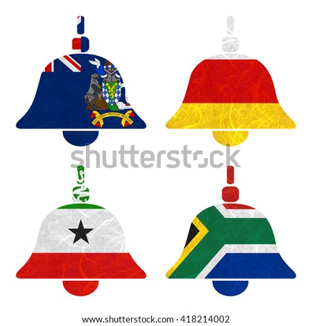 Nation Flag. Bell recycled paper on white background. ( Somaliland , South Africa , South Georgia and the South Sandwich Islands , South Ossetia ) - stock photo