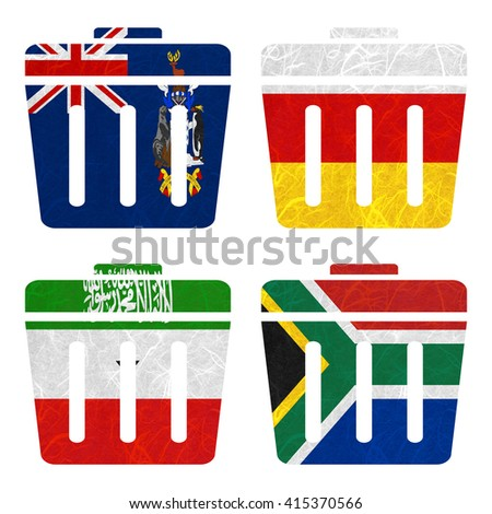 Nation Flag. Bin recycled paper on white background. ( Somaliland , South Africa , South Georgia and the South Sandwich Islands , South Ossetia ) - stock photo