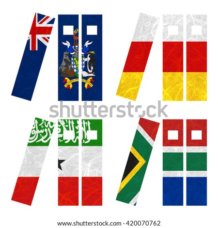 Nation Flag. Book recycled paper on white background. ( Somaliland , South Africa , South Georgia and the South Sandwich Islands , South Ossetia ) - stock photo
