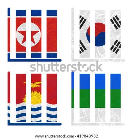 Nation Flag. Book-shelf recycled paper on white background. ( Kiribati , Komi , Korea North , Korea South ) - stock photo