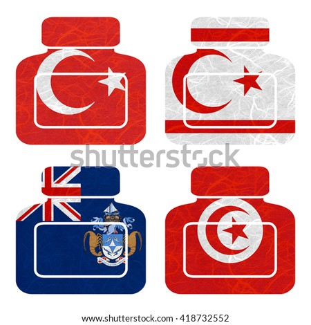 Nation Flag. Bottle recycled paper on white background. ( Tristan da Cunha , Tunisia , Turkey , Turkish Republic of Northern Cyprus )
