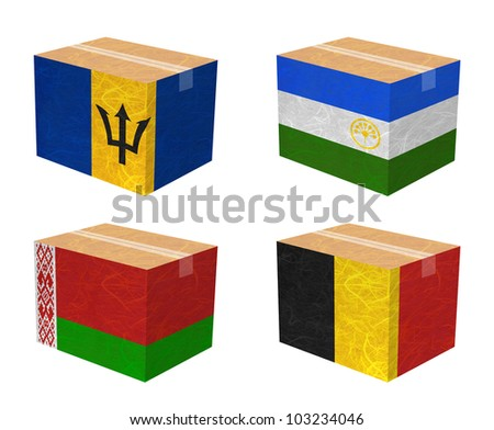 Nation Flag. Box recycled paper on white background. ( Barbados , Bashkortostan , Belarus , Belgium )