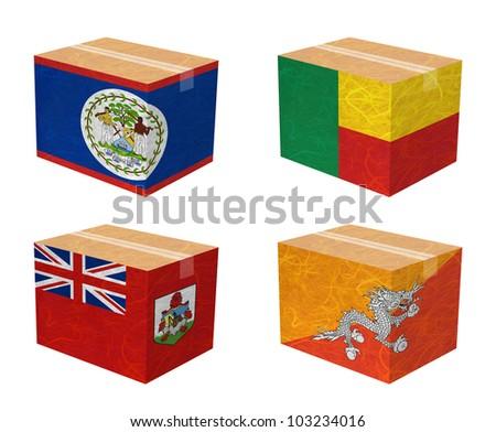 Nation Flag. Box recycled paper on white background. ( Belize , Benin , Bermuda , Bhutan ) - stock photo