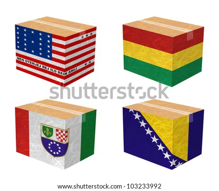 Nation Flag. Box recycled paper on white background. ( Bikini Atoll , Bolivia , Bosnia and Herzegovina Federation of, Bosnia and Herzegovina ) - stock photo