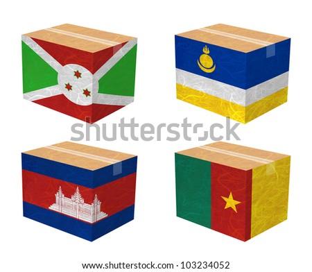 Nation Flag. Box recycled paper on white background. ( Burundi , Buryatia , Cambodia , Cameroon ) - stock photo