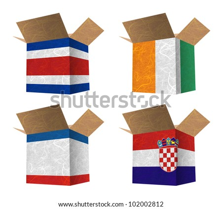 Nation Flag. Box recycled paper on white background. ( CostaRica , Cote dlvoire , Crimea , Croatia ) - stock photo