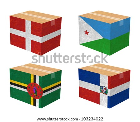 Nation Flag. Box recycled paper on white background. ( Denmark , Djibouti , Dominica , Dominican Republic ) - stock photo