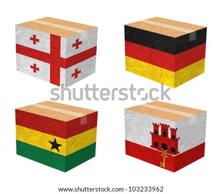 Nation Flag. Box recycled paper on white background. ( Georgia , Germany , Ghana , Gibraltar ) - stock photo