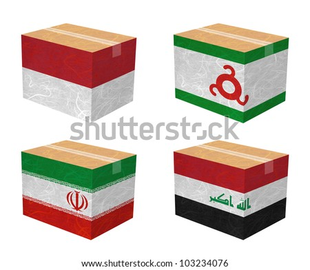Nation Flag. Box recycled paper on white background. ( Indonesia , Ingushetia , Iran , Iraq ) - stock photo