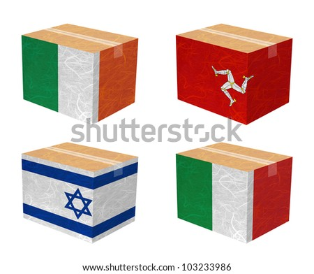 Nation Flag. Box recycled paper on white background. ( Ireland , Isle of Man , Israel , Italy ) - stock photo