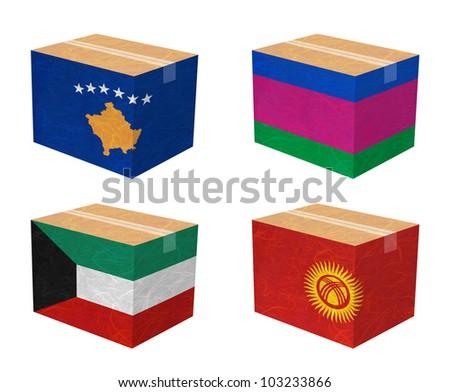 Nation Flag. Box recycled paper on white background. ( Kosovo, Kuban Peoples Republic , Kuwait , Kyrgyztan ) - stock photo