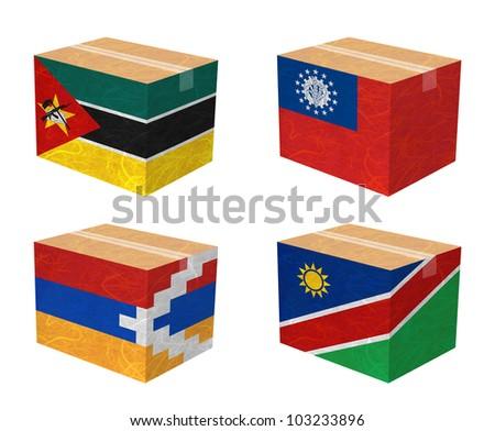 Nation Flag. Box recycled paper on white background. ( Mozambique , Myanmar , Nagorno-Karabakh Republic , Namibia ) - stock photo